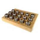 Satz Spannzangen ER40 (472E) Präzision (10-15μm) DIN ISO 15488 B Kl.1  Ø 4,0-26,0 mm (23 St.)/1,0 mm steigend, auf Holzleiste